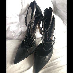Prabal Gurung leather sexy black heels size 37 7
